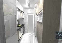 Projeto em 360° de uma cozinha compacta porém muito charmosa.